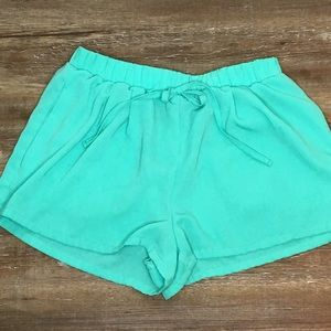 FOREVER 21 Teal Tie Waist Casual Leisure Shorts S